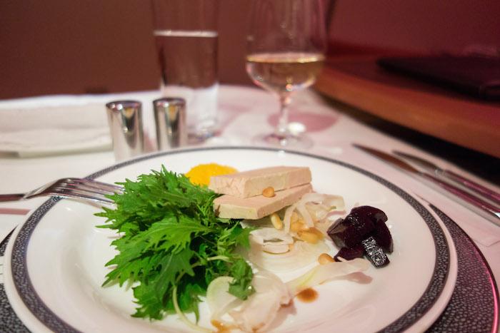 Masih Menu Apptizer: Duck Foie Gras with Shaved Fennel-Orange Salad, Beetroot, and Mizuna