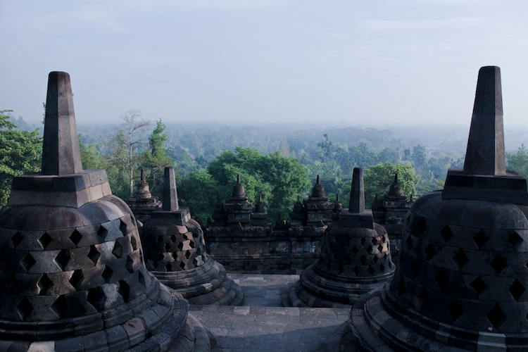 sunrise from inside borobudur