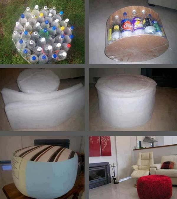 DIY sofa empuk dari botol plastik