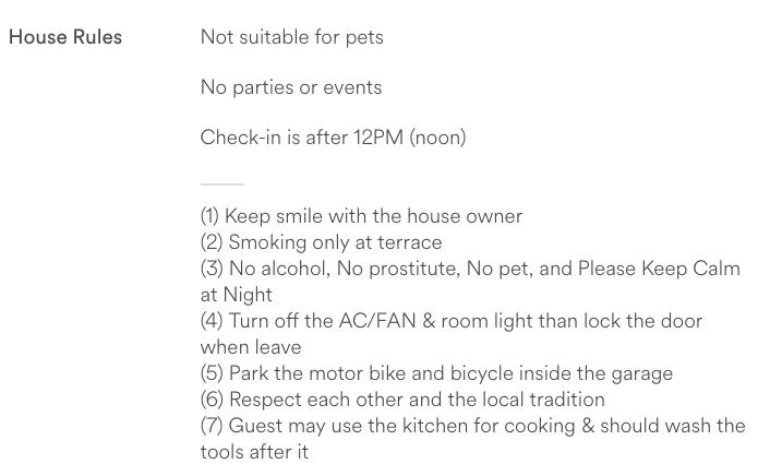 contoh peraturan dari salah satu host airbnb