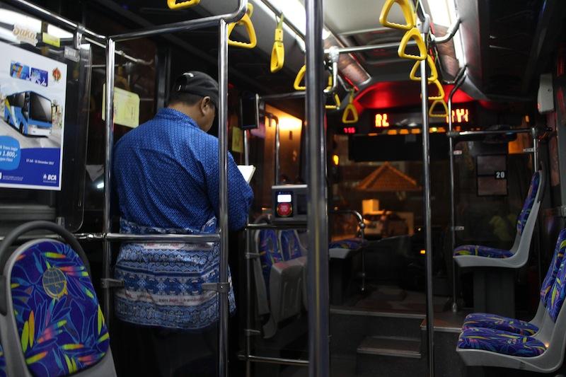 inside the trans jogja bus
